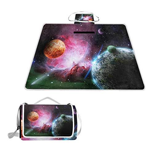 Cosmic Space Colorful Large Picnic Blanket Mat for Outdoor Water-Resistant Handy Mat Tote for Beach Camping Yoga Baby Mat 57
