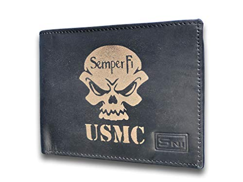 US Marine Corp Semper Fi USMC Genuine Cowhide Leather Laser Engraved Engraving Black Slimfold Mens Large Capacity Luxury Wallet Purse Minimalist Sleek and Slim Includes Card Holder Organizer 14 Pocket - Marines Semper Fi