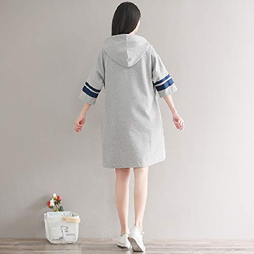 Knee A Women Dresses Fashion Coolred Grey line Splice High Hood Pullover xtqta1wYd