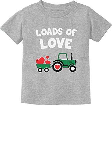Loads of Love Valentine's Gift Tractor Loving Toddler Infant Kids T-Shirt 4T Gray