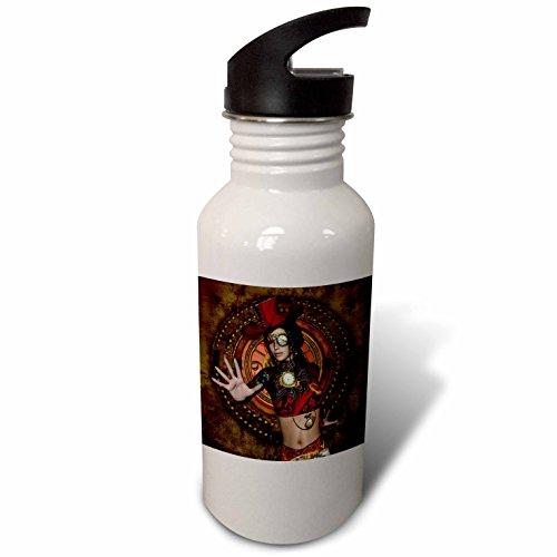 3dRose Heike Köhnen Design Steampunk – Beautiful mystical steampunk women – Flip Straw 21oz Water Bottle (wb_266384_2)
