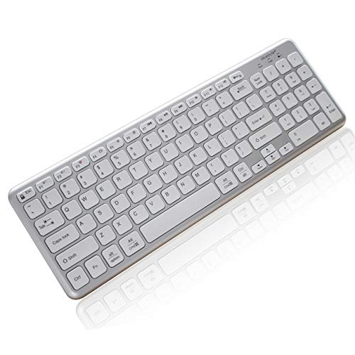 Bluebyte Multi-Device Universal Wireless Bluetooth 4.0 LE Keyboard with Comfortable Chiclet Key, Full Size Bluetooth Ultra-Slim Wireless Keyboard for Mac, Windows PC,Phone and Tablet.(White