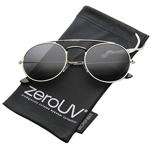 zeroUV - Retro Fashion Minimal Thin Metal Brow Bar Round Sunglasses 52mm (Silver / - Bar Brow Sunglasses