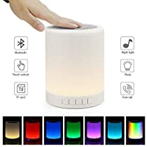E ELEPOWSTAR Bluetooth Music Speaker Smart Touch Night Light Color Changing, Portable Multifunctional Speaker + Dimmable Warm White, Muisc Player / Hands-free with TF Card and USB Charging