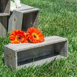 Rustic Barn Wood Planter Box with Plastic Liner, 12 x 4 Inch Rectangle