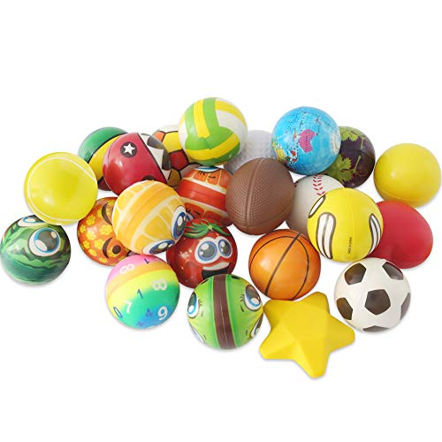 LovesTown Stress Relief Balls,24 Pcs Assorted Stress Balls PU Squeeze Balls Relief Party Favor Squeezy Balls for Hand Wrist Finger Exercise Therapy Squeeze