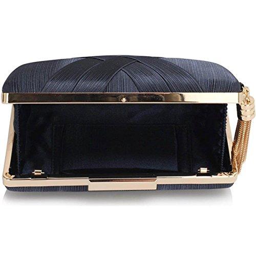 Xardi London clutch rigida da donna, compatta, in raso, misura media, adatta per spose, balli, serate. Navy