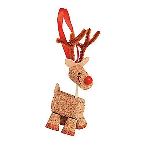 12 ~ Cork Reindeer Christmas Ornament Craft Kits ~ New