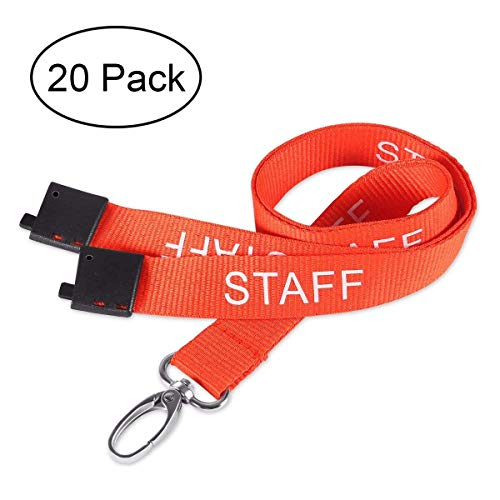 DEALIKEE Staff Lanyards, Printed Orange and White Staff Design Neck Strap Swivel Metal Clip. (20 Pack) for $<!--$25.98-->