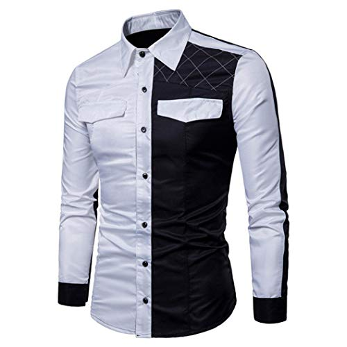 Hombre Moda Blanca Tops Fit Business Ajustado Camisas Casual Slim Otoño Blusa Originales Negocio down Familizo Formal Lino Button Larga Blanco Manga Baratas Cuadros 6v5qcw7