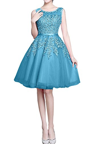 Blau Abendkleider Braut mia Kurzes Spitze Knielang Neu Cocktailkleider La Jugendweihkleider Linie Festlichkleider A n7BXHfq