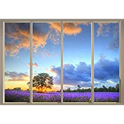 "wall26 Window View of Tree in a Field of Purple Flowers - Wall Mural - 100""x144"""