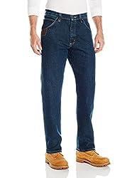 Wrangler Men's Advanced Comfort Five Pocket Jean, Mid Stone, 35x32