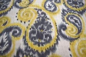 Resort Spa Home Set of 4 - Indoor/Outdoor Square Decorative Throw/Toss Pillows ~ Sorista Patina Gray and Yellow Ikat Paisley Scroll Print (20'' x 20'')