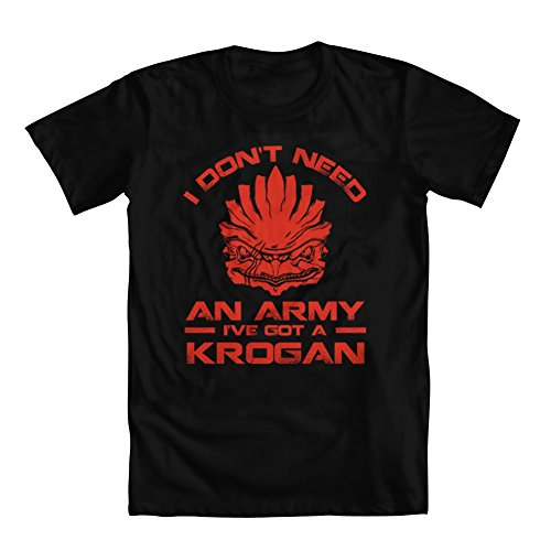 Price comparison product image GEEK TEEZ I Don't Need an Army, I've Got a Krogan Youth Girls' T-Shirt Black Large