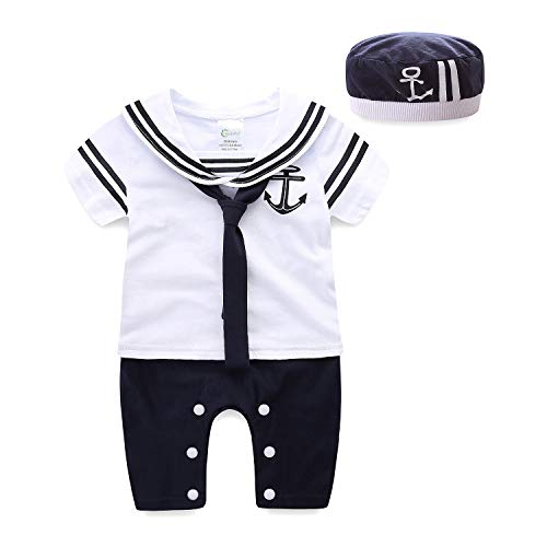 Mud Kingdom Navy Baby Romper with Hat 9 Months White Short Sleeve