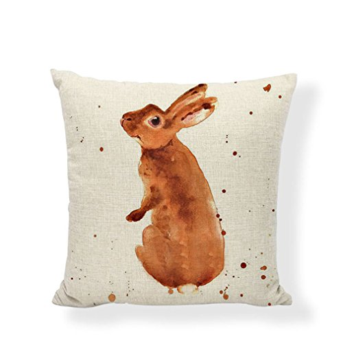 PSDWETS Easter Rabbit Home Decor Pillow Covers Set of 4 Cotton Linen Cute Bunny Throw Pillow Case Cushion Cover 18 X 18