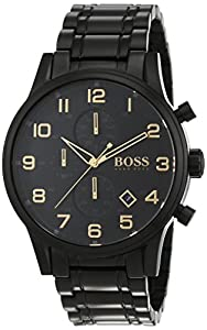 hugo boss chronograph quartz men s watch aero liner black and gold hugo boss chronograph quartz men s watch aero liner black and gold stainless steel plated 1513275