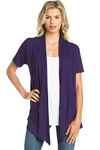 (12 Ami Basic Solid Short Sleeve Open Front Cardigan Dark Purple 2X)