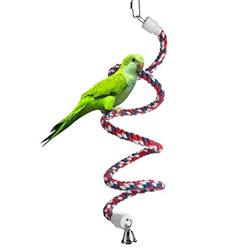Aigou Bird Spiral Rope Perch, Cotton Parrot Swing Climbing Standing Toys with Bell (Small - 52 inch)