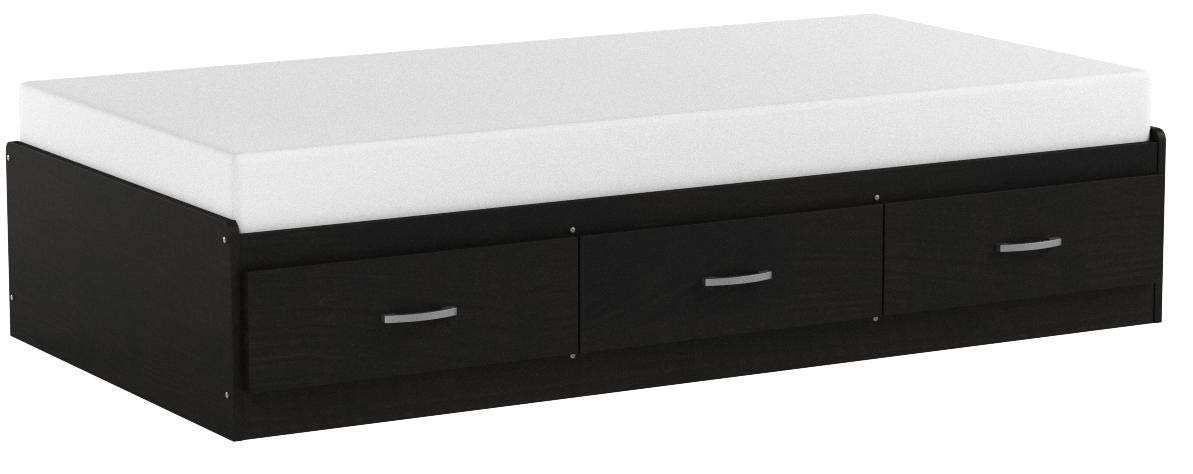 South Shore Cosmos Mates Bed with 3 Drawers, Twin 39-inch, Black Onyx by South Shore