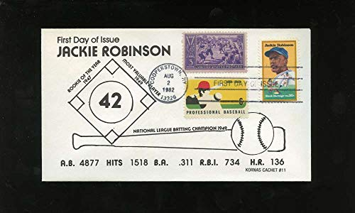 Jackie Robinson First Day Issue Two Other Baseball Stamps Black Heritage Series Letter Envelope Cooperstown Stamp Brooklyn Dodgers from The Meelypops Shop