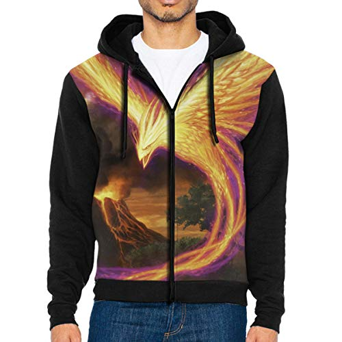 - Mens Bath Fire Phoenix Fashion Hoodies Funny Jacket Print Zipper Sweatshirts Jumper Black