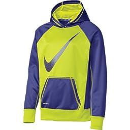 Nike Girls (8-20) Swoosh Fleece Hoodie ATHLETIC PULLOVER SHIRT NEON/PURPLE (M 10-12)