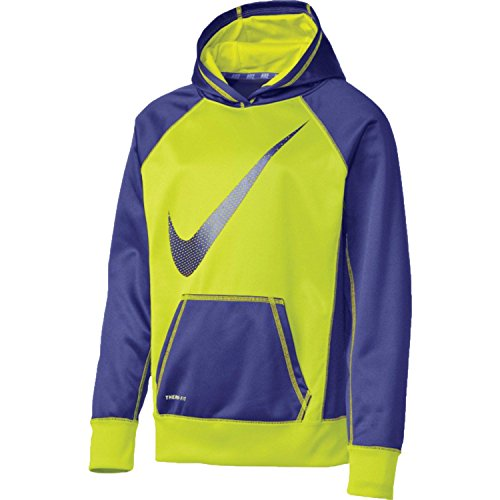 Nike Girls (8-20) Swoosh Fleece Hoodie ATHLETIC PULLOVER SHIRT NEON/PURPLE (M 10-12) by NIKE