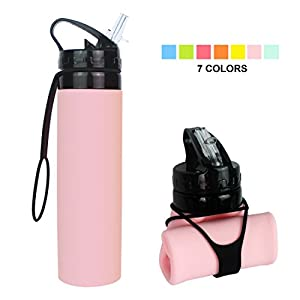 Collapsible Water Bottle, YUANFENG 20oz BPA-Free Leak-Proof Lightweight Silicone Sports Travel Camping Water Bottles (Pink)