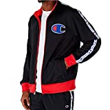 Champion LIFE Men's Track Jacket, Black/Scarlet, Large