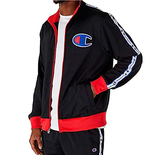 Champion LIFE Men's Track Jacket, Black/Scarlet, Large by Champion LIFE