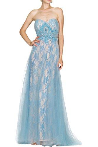 La_Marie Braut Blau Spitze Traegerlos Abendkleider Ballkleider Brautmutterkleider Bodenlang