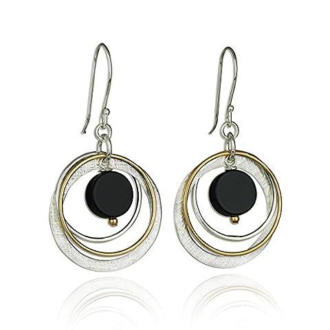 Two Tone Black Onyx Multi Hoops Circle