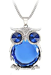Joannala Trendy Owl Necklace Crystal Jewelry Statement Women Silver Chain Long Necklaces(blue)