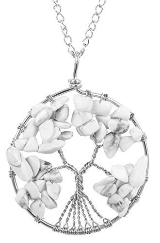 (Top Quality Tree of Life Chakra Pendant Necklace Natural Howlite Gemstone Chakra Jewelry 26