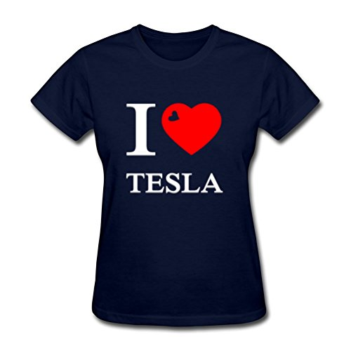 X-large Lightweight Women T-shirt I Love Tesla White 3d Red Heart By Darlabrown Navy Obama Ringer