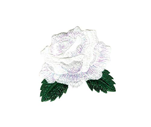 White Rose - Open Petals - Flower - Iron on Applique/Embroidered ()