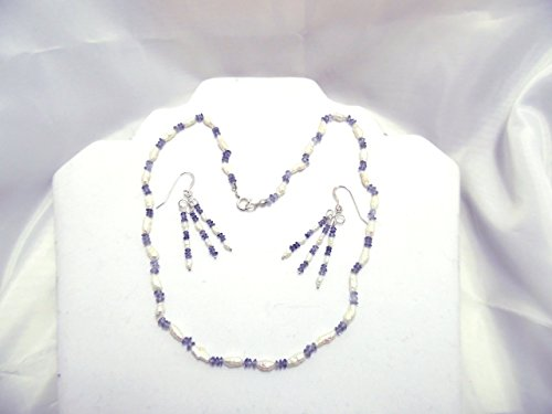 Iolite and freshwater pearl necklace and earring set