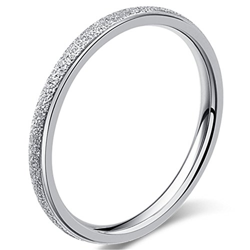 Womens 2mm Stainless Steel Sand Blast Finish Silver Wedding Band Engagement White Gold Domed Ring Size 6 ()