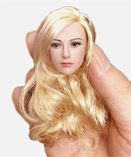 1/6 schaal vrouwelijke figuur hoofd beeldhouwen, beuty charmant meisje pop hoofd met realistisch haar voor 12 inch actiefiguur