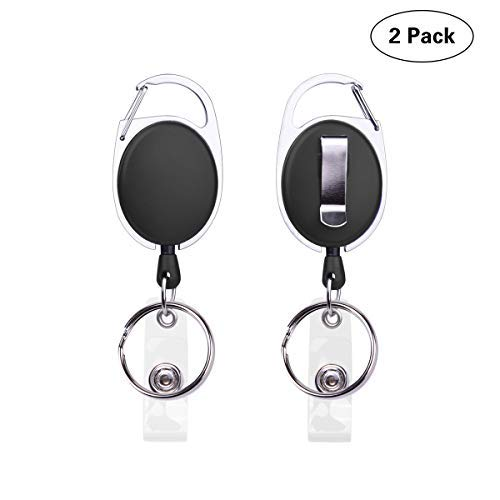 2-Pack Retractable Badge Holder Carabiner Badge Reel Clip with Belt Clip and Split Key Ring for ID Card Badge