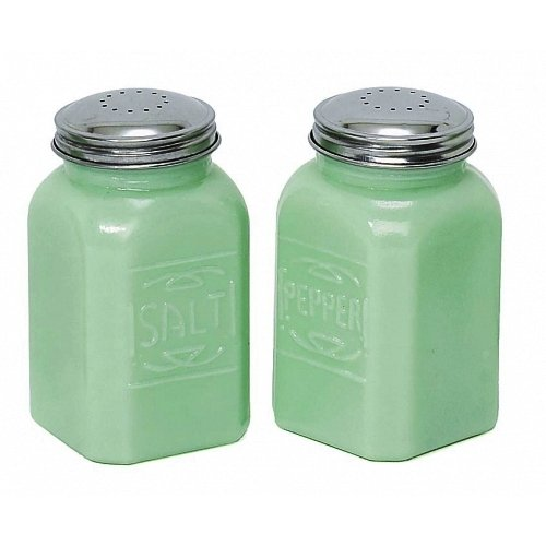 Jade Green Vintage (Jade Jadeite Green 2 Pc Salt Pepper Shaker SET Depression Glass Shakers)