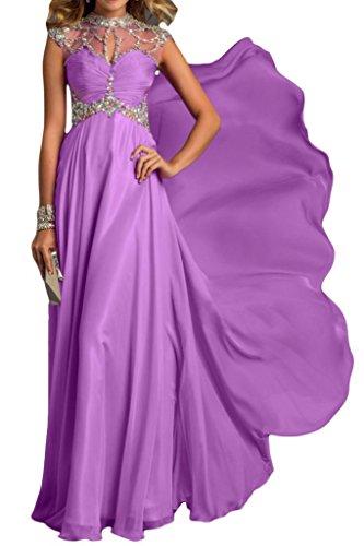 Toscana de novia de gasa tul Rueckenfrei Scheind por la noche de la moda de ropa de noche de largo bola Prom vestidos de fiesta a morado