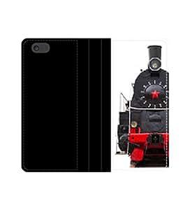 Retro Train, isolated funda con tapa y ranuras para tarjetas y compartimento para billetes iPhone 4 4S 5 5S 6 6S/Samsung S3 S4 S5