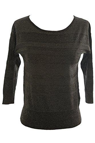 August Silk Women's 3/4 Sleeve Stripe Knit Sweater Petite Large Gunmetal (3/4 Sleeve Silk Sweater)