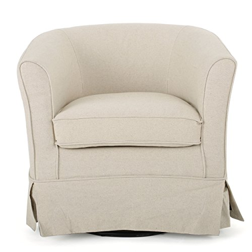 Swivel Club Chair Contemporary Natural Off White Fabric 27.25