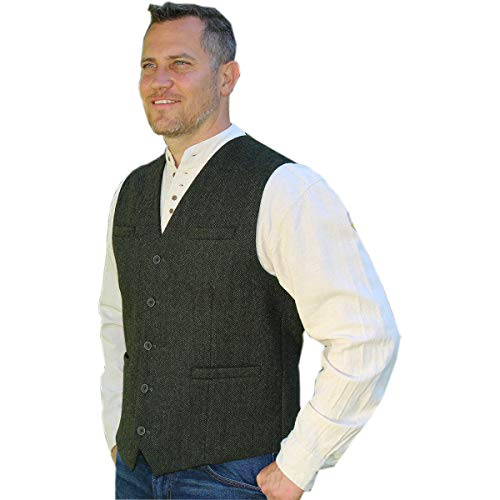 Emerald Isle Tweed Vest for Men, Imported from Ireland, Green (X-Large) -