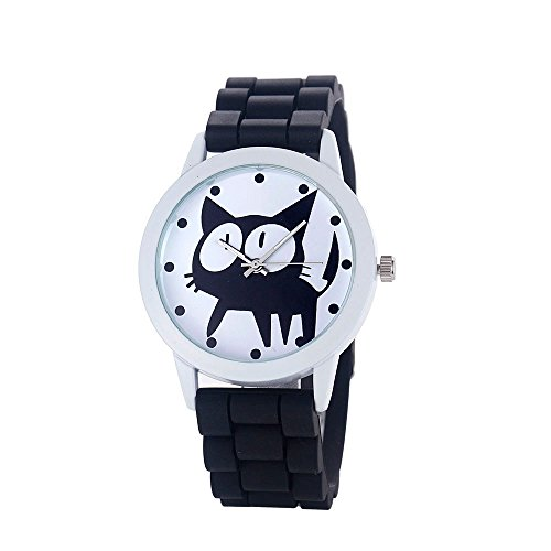 Loveso-Armbanduhr elegant Frauen-nette Karikatur Katze Kitty Silikon-Quarz-Uhr-Armbanduhr_Schwarz