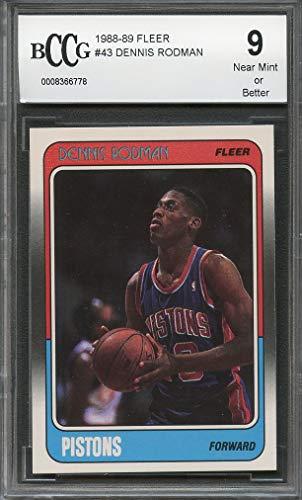 - 1988-89 fleer #43 DENNIS RODMAN pistons rookie card (50-50 CENTERED) BGS BCCG 9 Graded Card